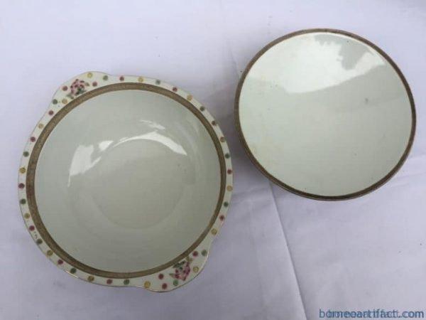 yellow nyonya soup bowl chinese wedding ware / food serving jar porcelain peonies