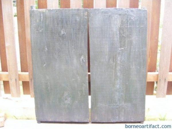 ANTROPOMORPHIC DAYAK WINDOW PANEL PAIR Land Dyak Borneo CARVED Plank Slat Strip