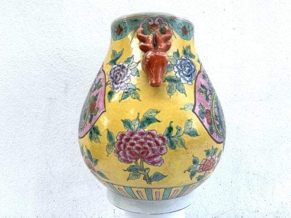 EGG SHAPE colourful JAR 280mm VASE Phoenix and Peonies Flower Pot Pottery baba Nyonya Urn