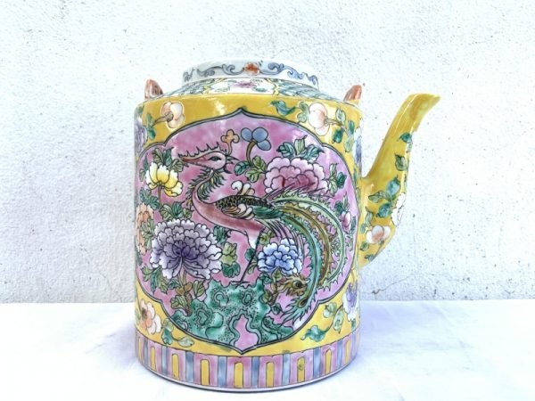 235mm GIANT peranakan teapot BABA NYONYA Wedding Ware POT TEAKETTLE Old STEAMER PORCELAIN