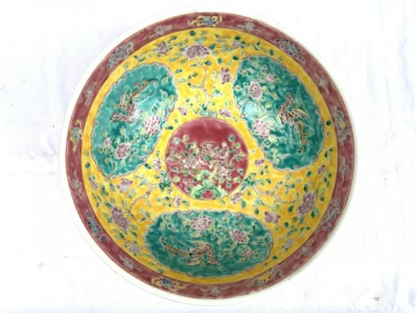 SUPERSIZE YELLOW BASIN 16.5″ HUGE Old Baba Nyonya peranakan bowl RARE SIZE DISH