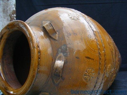 CRISPY GOLDEN BROWN Massive Size Antique JAR VASE Late Ching Period Tajau Pot
