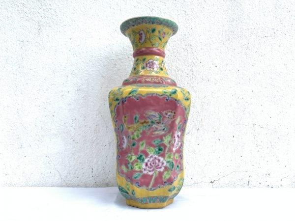 gorgeous vase YELLOW NYONYA VASE Jar Phoenix Peonies Flower Pot Pottery Ceramic