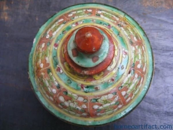 ANTIQUE AUTHENTIC Red & Green Buddhist Emblem MINI COVERED JAR Chinese Heirloom