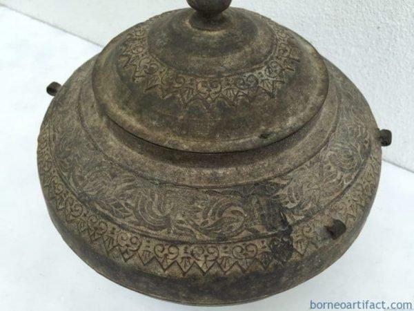 ANTIQUE SULANG CONTAINER Brass Box Jar Bowl BRASS POT Dayak Metalware Heirloom