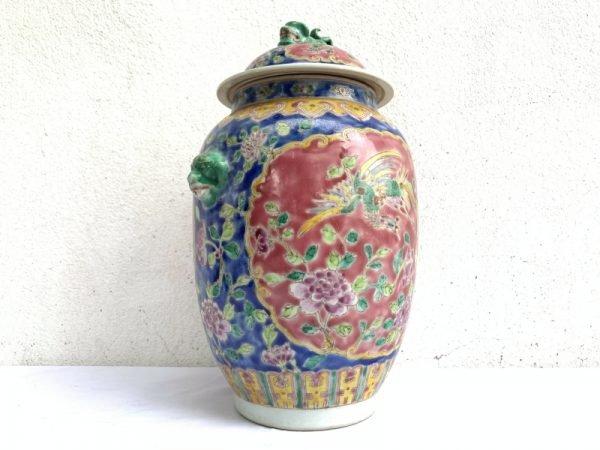 TALL COVERED JAR singapore Kam cheng Porcelain Pot Vase Pottery Asia