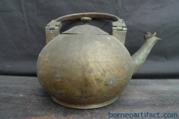 ANTIQUE BRASS/BRONZE KETTLE Wealth Currency Boiler Pot Steamer Teakettle Brunei