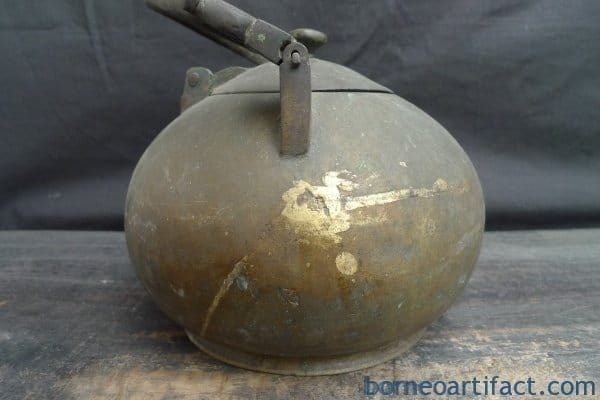 ANTIQUE BRASS/BRONZE KETTLE Wealth Currency Boiler Pot Steamer Teakettle Brunei