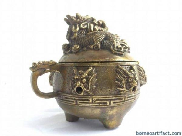 BRASS COVERED POT Dragon Feng Shui Jar Bowl Jewelry Box