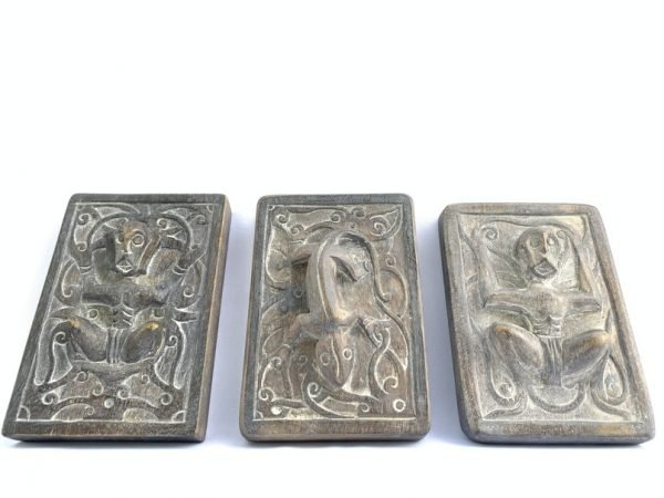 COLLECTION OF THREE ( 140 x 95 mm ) Tattoo Ink Block Tribal Art Body Piercing Statue Figure Figurine Borneo