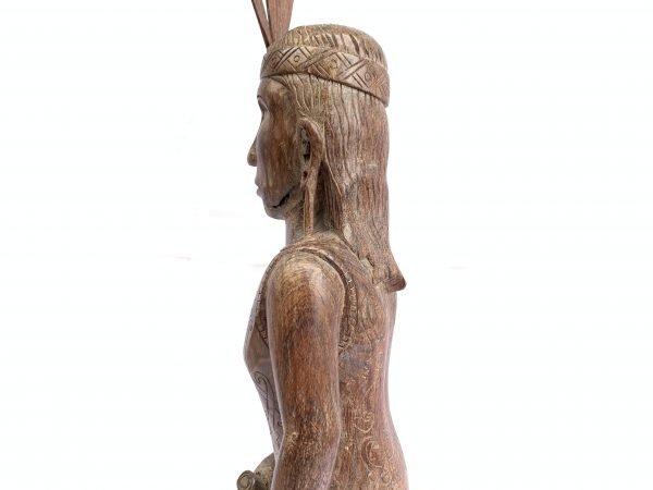 DAYAK FEMALE WARRIOR FIGURE Statue Sculpture Image Icon Borneo Headhunter Women