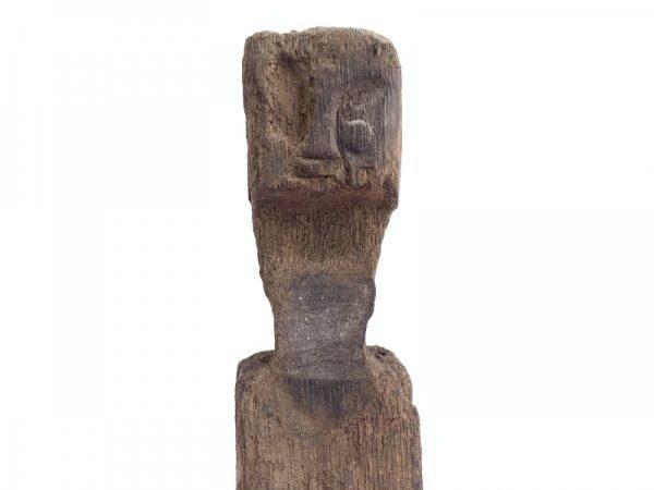 ANTIQUE ERODED STATUE Ancestral Guardian Pole Image Icon Sculpture Borneo #8