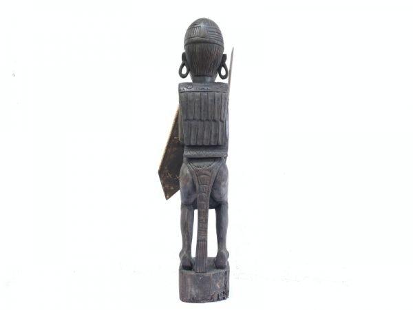 GIANT STATUE 930mm DAYAK WARRIOR Sculpture Artifact Image Icon Borneo Headhunter