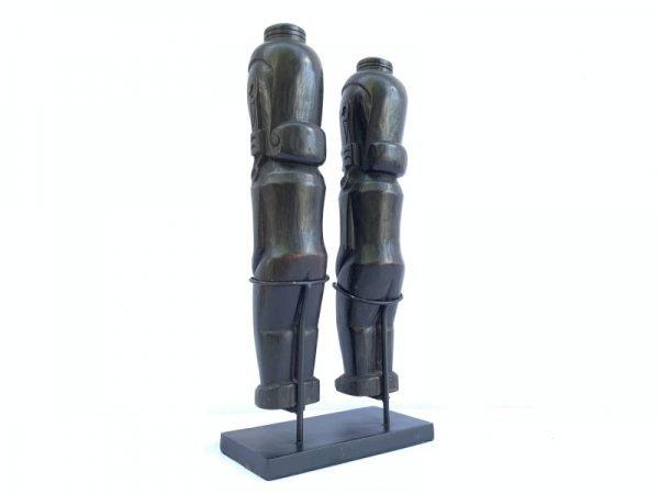 TWO 420mm BATAK WARRIOR AMPUTATED HEAD Sculpture Ancestral Facial Indonesia Wood Artifact