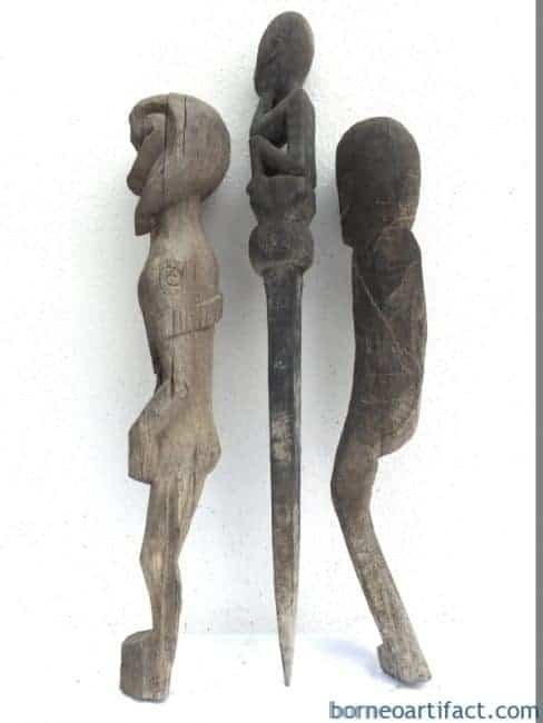 JUNGLE GUARDIAN POLE & ERODED STATUE Authentic Dayak Primitive Figure Borneo