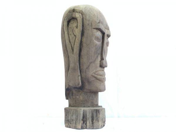 DAYAK HEAD WOODEN SKULL FACIAL 12.5 lb Statue Sculpture Primitive Figure Borneo