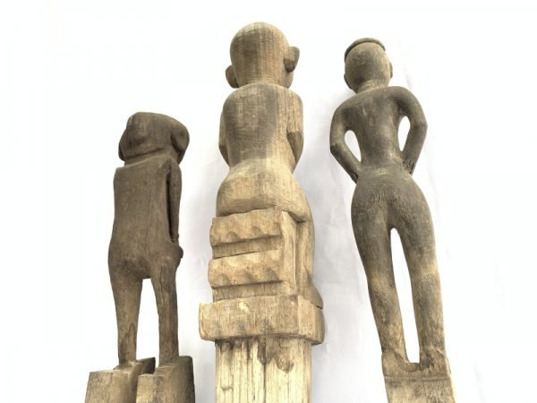 GRAVE and PADDY GUARDIAN ancestor STATUE 360-440mm ANTIQUE Authentic Dayak Tribal Figure