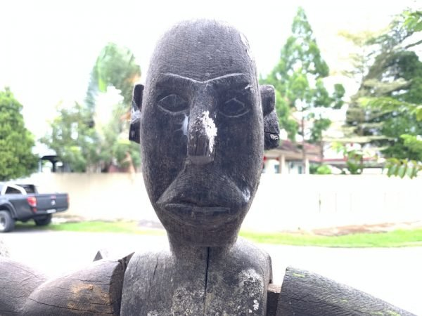 HUMAN SIZE 1660mm GUARDIAN STATUE Eroded Outdoor deco Dayak Figure Sculpture RARE