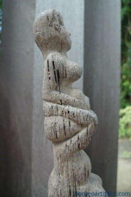 THREE MAN RITUAL POLE Dayak Bahau Guardian Figure Icon Sculpture Artifact Borneo