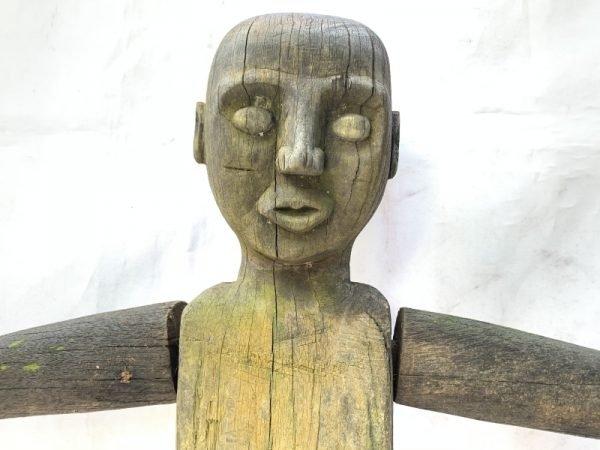MALE PATUNG POLISI 1100mm XXXL STATUE Police Dayak Tribal Figure Wood Sculpture