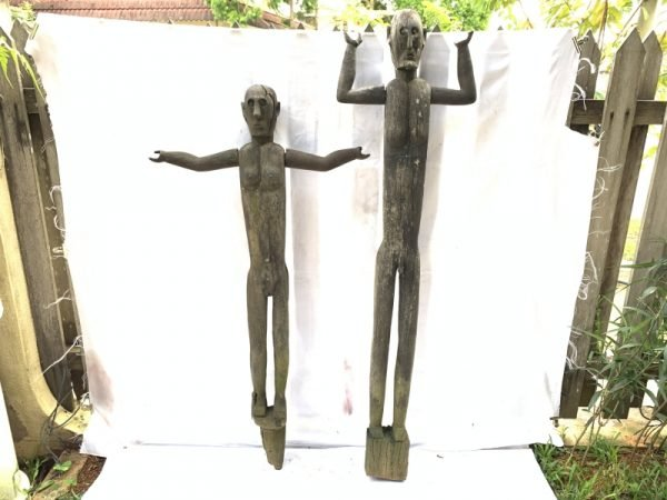 TWO GIANT STATUE 1280 and 1480mm MALE and FEMALE DAYAK asian Figure Sculpture