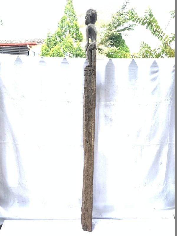 KRAMEN 1810mm POLE WARRIOR STATUE Eroded Dayak Dyak Primitive Figure AUTHENTIC