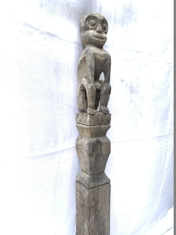 FOREST GUARDIAN 1150mm LARGE POLE STATUE Authentic Asian Primitive Figure Borneo