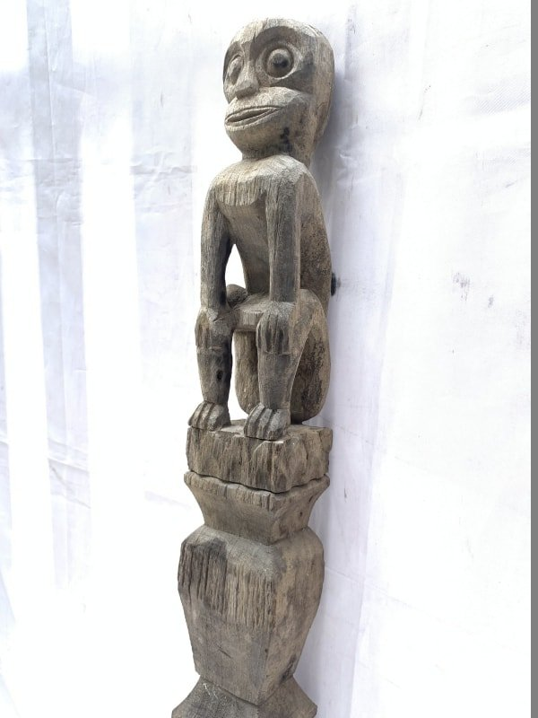FOREST GUARDIAN 1150mm LARGE POLE STATUE Authentic Asian Primitive Figure Borneo