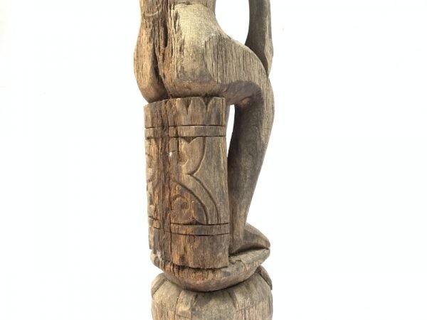 FEMALE FERTILITY GUARDIAN 1140mm POLE STATUE Aged Asian Sculpture Figure Borneo
