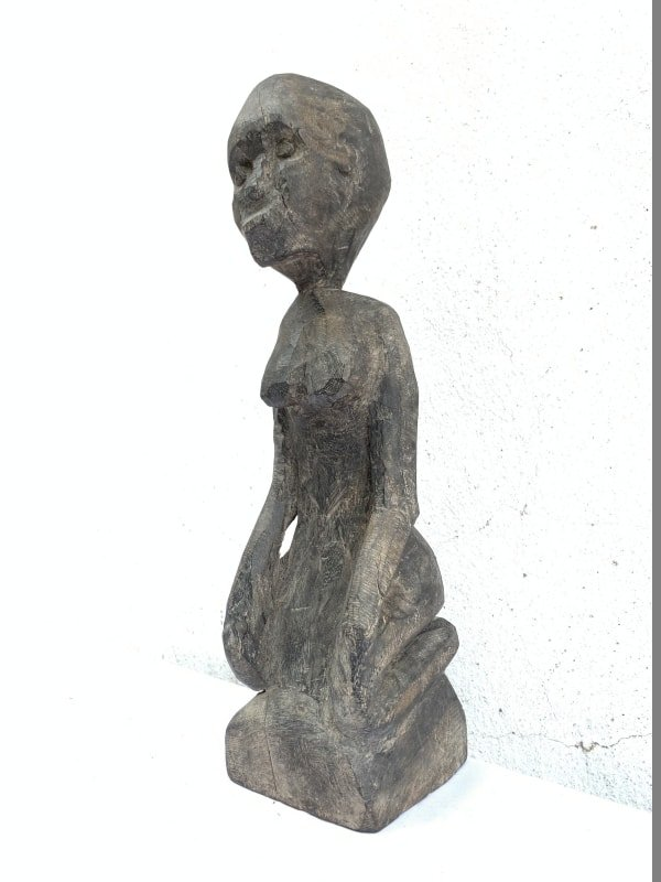 WOOD ARTIFACT 310mm DAYAK STATUE Antique Authentic Aged Sculpture Wooden Art