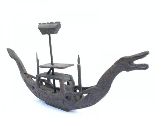 BORNEO VESSEL 20.5 TRIBAL COFFIN DRAGON BOAT Dayak Statue Sculpture Figure Naga Asia