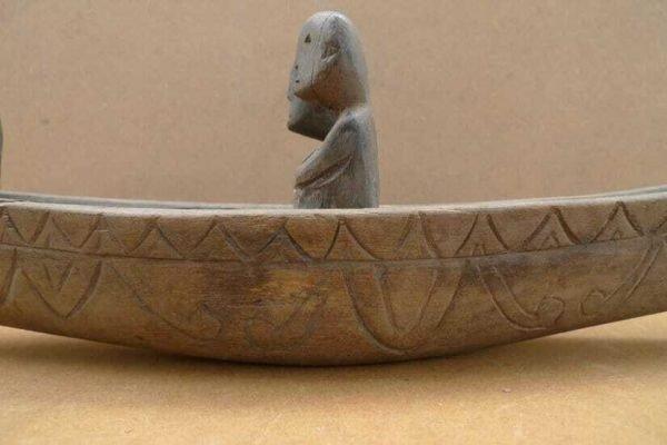 OLD DAYAK BOAT 400mm Vessel Native Tribal Primitive Figure Statue home decoration