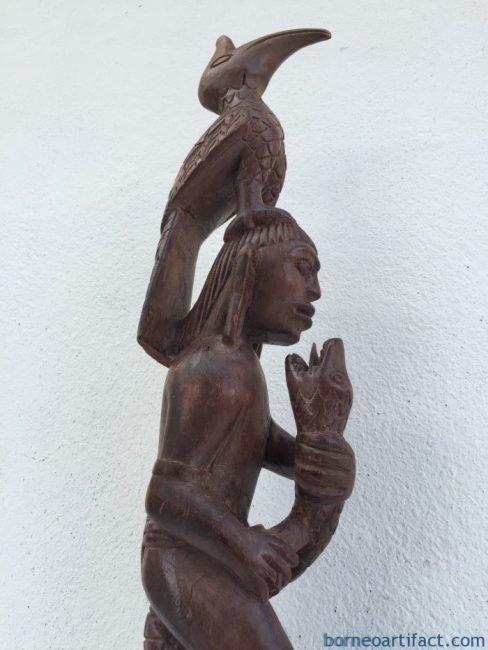 WARRIOR & NATURE IMAGE Old Dayak Statue Sculpture Figure Home Bar Snake Bird