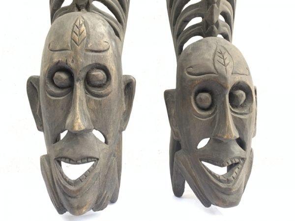 TWO LETI STATUE Wooden Sculpture Figure Icon Image Skull Skeleton Figurine Interior Home