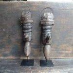 ONE PAIR TORAJA CONTAINER Old Tora Tora CATTLE HORN Statue Figure Sculpture Old