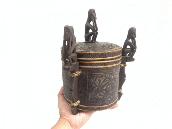 4.) DAYAK CHAMBER 280mm LUPONG DAYAK Medicine Box Statue Asia Artifact indonesia