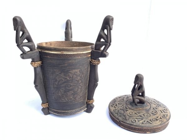 7.) DAYAK TRADITIONAL BOX 320mm Oceanian Art Chamber Lupong Medicine Statue Artifact Borneo