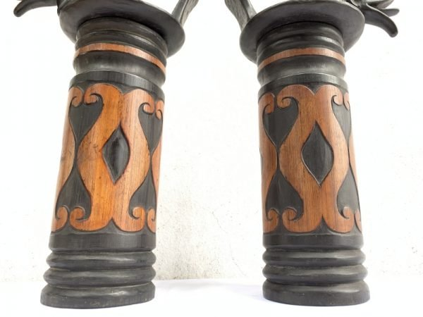 ONE PAIR NIAS BAMBOO Giant Bottle 425mm Container Carrier Jewel Box Sculpture Artifact
