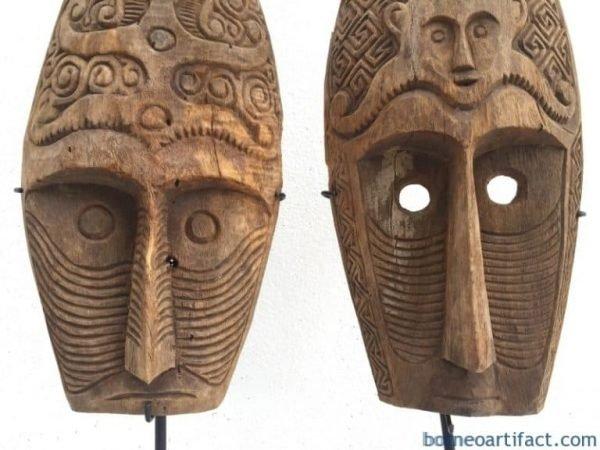 (ONE PAIR) HUSBAND & WIFE MASK Nias Indonesia Artifact Sculpture Figure Statue