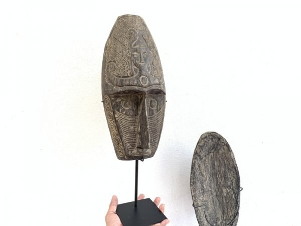 TWO TRIBAL CARVED MASK 20.9″ ON STAND Nias Face Sculpture Figure Statue South East Asia