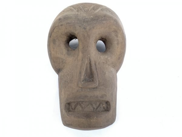 BORNEO SKULL MASK 160x110mm Tribal Face Facial Artefact Wall Pub Garden Deco Art