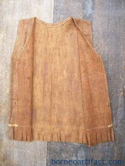 TREE BARK TRIBAL SHIRT DAYAK Barkcloth Kumang Gawai Headhunter Traditional Wear
