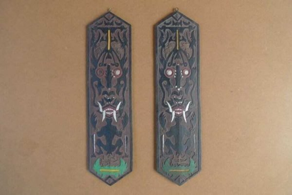 TRIBAL PANEL x 2 In 3-Dimentional Fashion Dayak Shield Anthropomorphic Figure