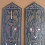 TRIBAL PANEL x 2 In 3-Dimentional Fashion Dayak Shield Anthropomorphic Figure