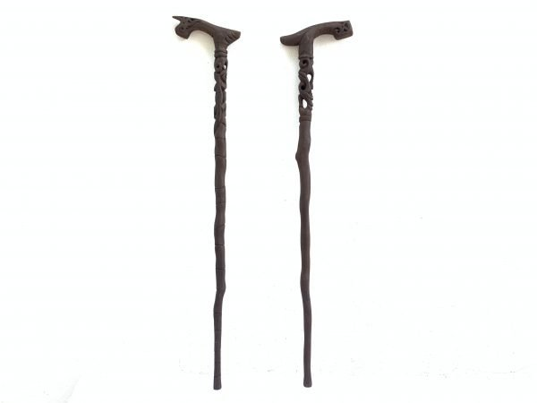 TWO 900mm WALKING STICK HARDWOOD CANE City & Hiking Rod Staff Pole Statue Tribal