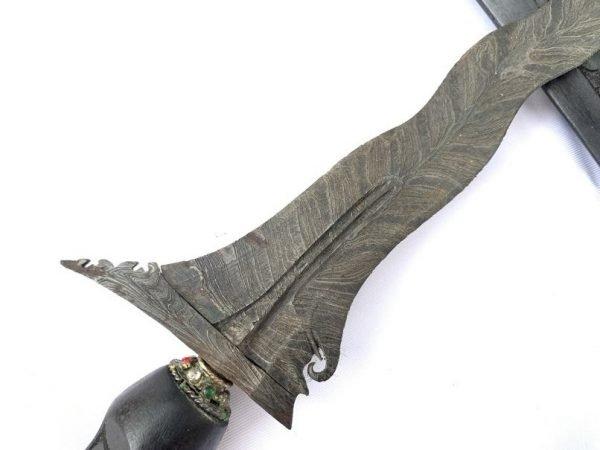 JAVANESE KERIS: Pamor Ron Duru 11 Luk Blade Knife Weapon Sword Kris Kriss Dagger Asia