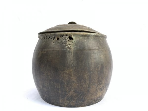 ANTIQUE RICE POT 170mm Borneo Brass Artifact Tribal Asia Native Cooker Cauldron