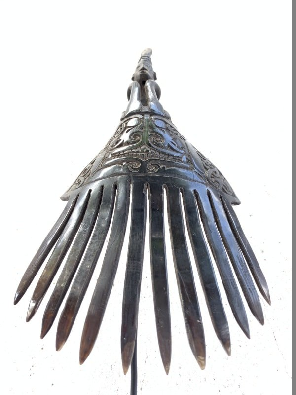 GORGEOUS CROWN 250mm TRIBAL HAIRPIN Women Comb Headdress Old Jewelry Statue Art