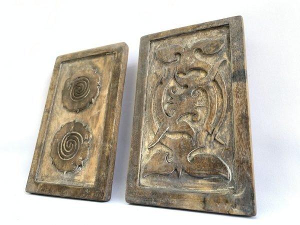TATTOO INK BLOCK (One Pair xL) Ironwood Tribal Body Piercing Stamp Chop Sculpture Statue Eggplant Headhunter
