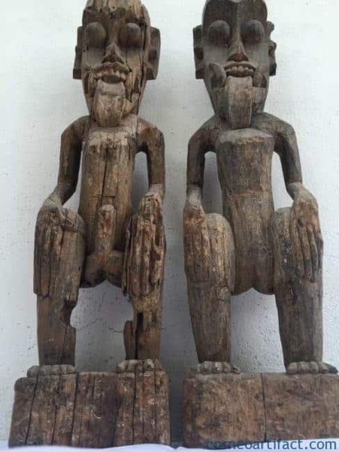 WEATHERED ANCESTRAL STATUE (ONE Pair) Dayak Figure Sculpture Guardian Mythical